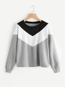 Sweat-shirt chevron de couleur