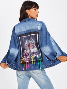 Jeans Jacke mit Flicken hinten, Band Detail und Rissen