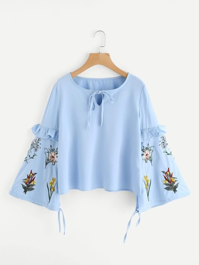Botanical Embroidered Frilled Lantern Sleeve Top