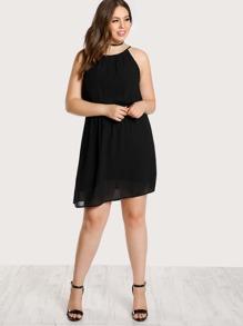 Spaghetti Strap Pleated Back Dress BLACK