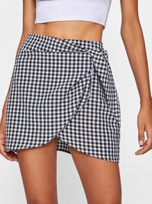 Gingham Overlap Skirt