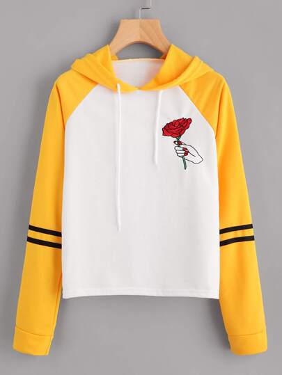 Rose Embroidered Contrast Striped Sleeve Hoodie