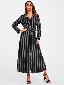 Contrast Stripe Tie Waist Shirt Dress