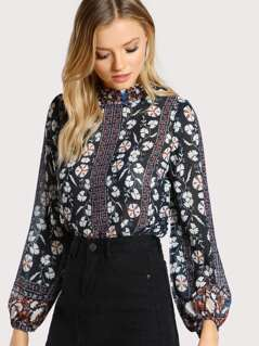 Floral Print Long Sleeve Sheer Top NAVY