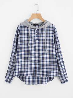 Dip Hem Check Blouse With Jersey Hood