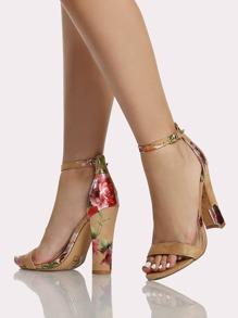 Metallic Floral Print Ankle Strap Heels CAMEL