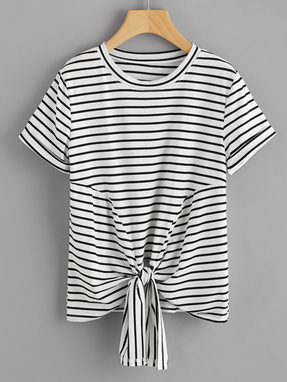 Knotted Hem Cuffed Striped Tee