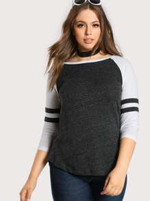 Baseball Quarter Sleeve Top GREY