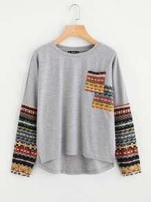 Tribal Print Pocket And Sleeve High Low T-shirt