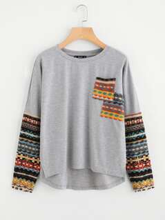 Tribal Print Pocket And Sleeve High Low T-shirt