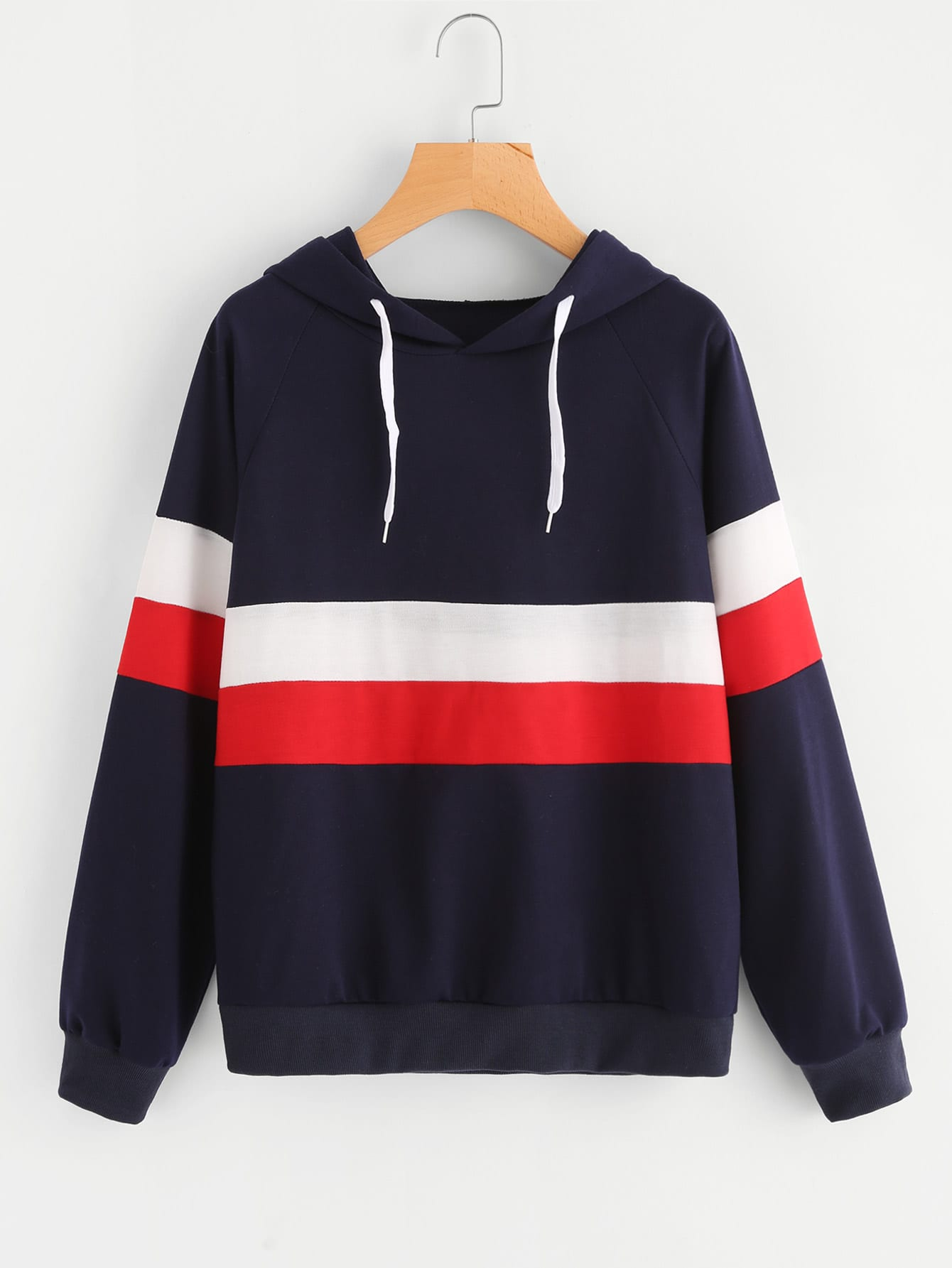 Color Block Striped Hoodie цена и фото
