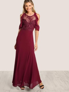 Lace Cut Out Ruffle Sleeve Dress BERRY