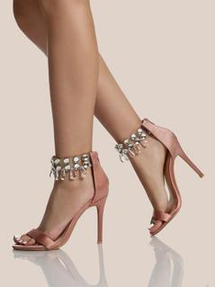 Diamond Clear Ankle Strap Heels MAUVE