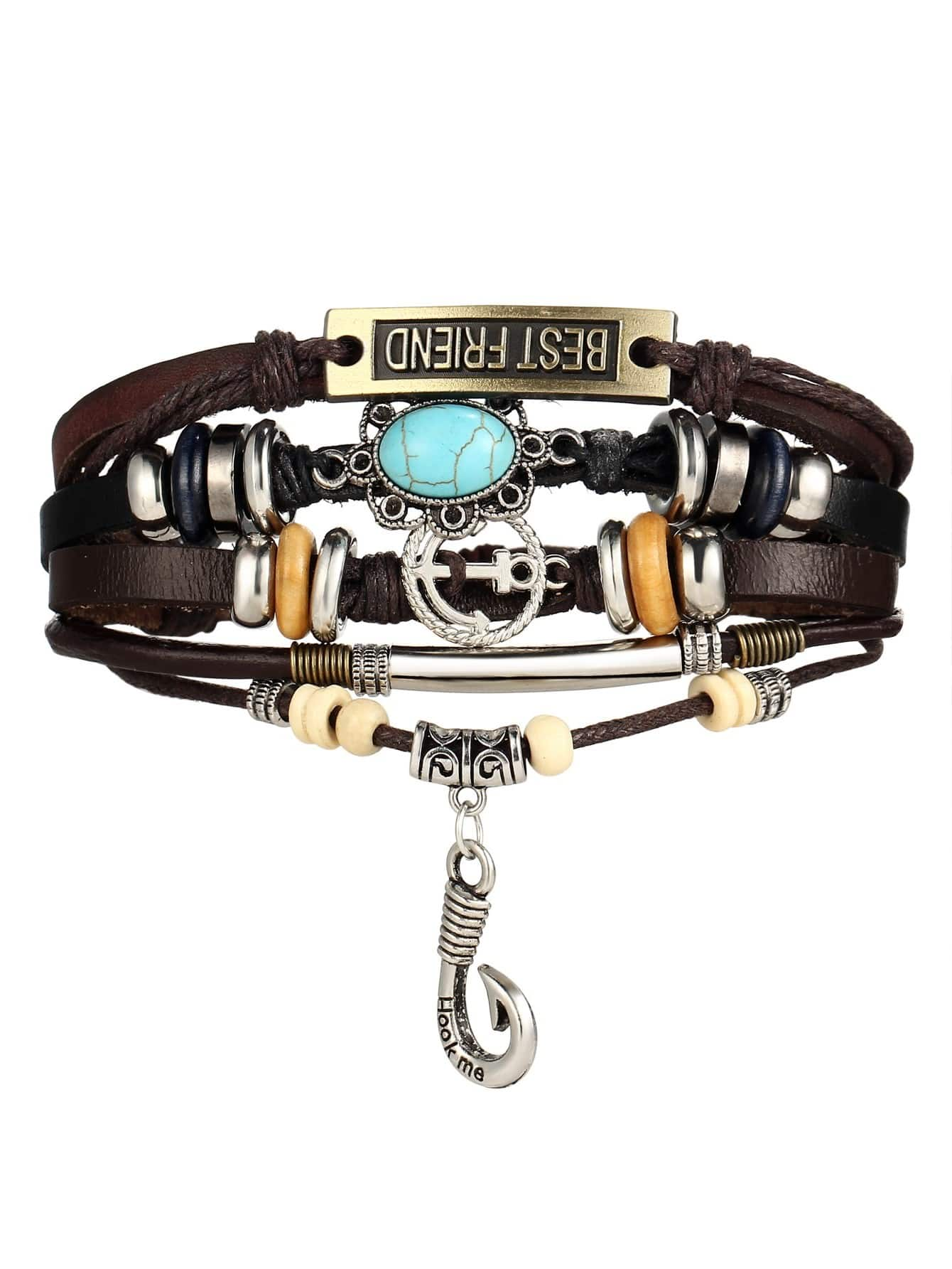 Anchor Detail Layered Adjustable Bracelet trendy anchor cross layered bracelet for women