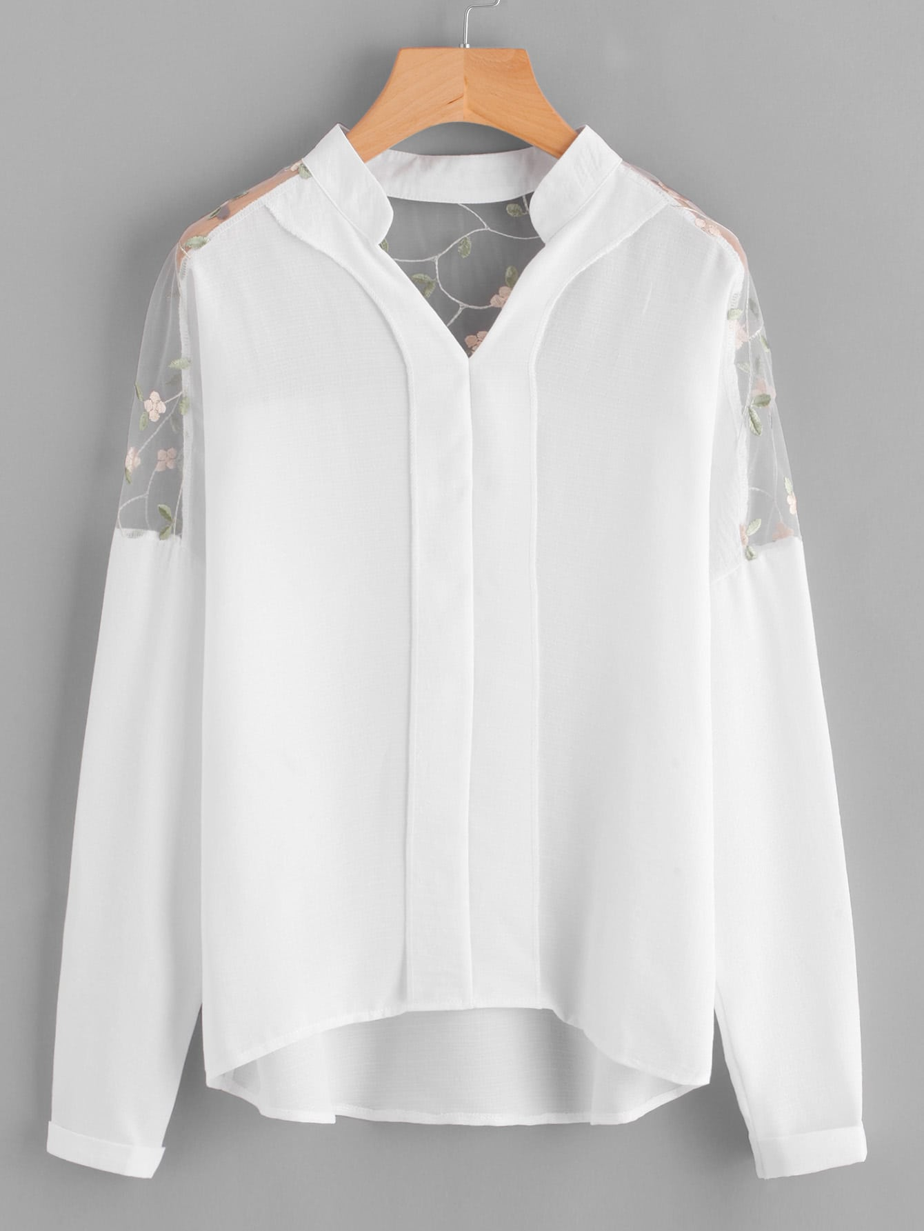 Embroidery Mesh Paneled Dip Hem Blouse national wind embroidery lace paneled v neck blouse