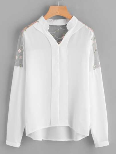 Embroidery Mesh Paneled Dip Hem Blouse