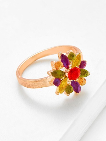 Flower Shaped Rhinestone Decorated Ring
