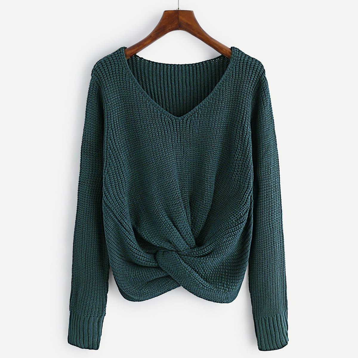 V-hals knit sweater met knoop