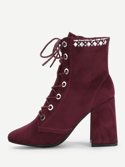 Eyelet Lace Up Block Heeled Ankle Boots