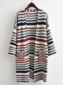 Striped Textured Knit Longline Cardigan Sweater
