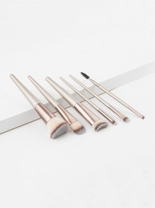 Metallic Handle Makeup Brush 6pcs