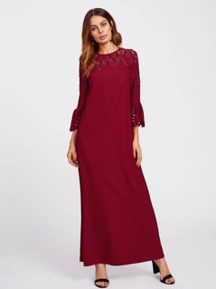 Scalloped Bell Sleeve Laser Cut Hijab Evening Dress