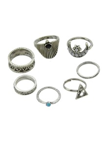 5Pcs/Set Silver Color Influx Of Geometric Rings