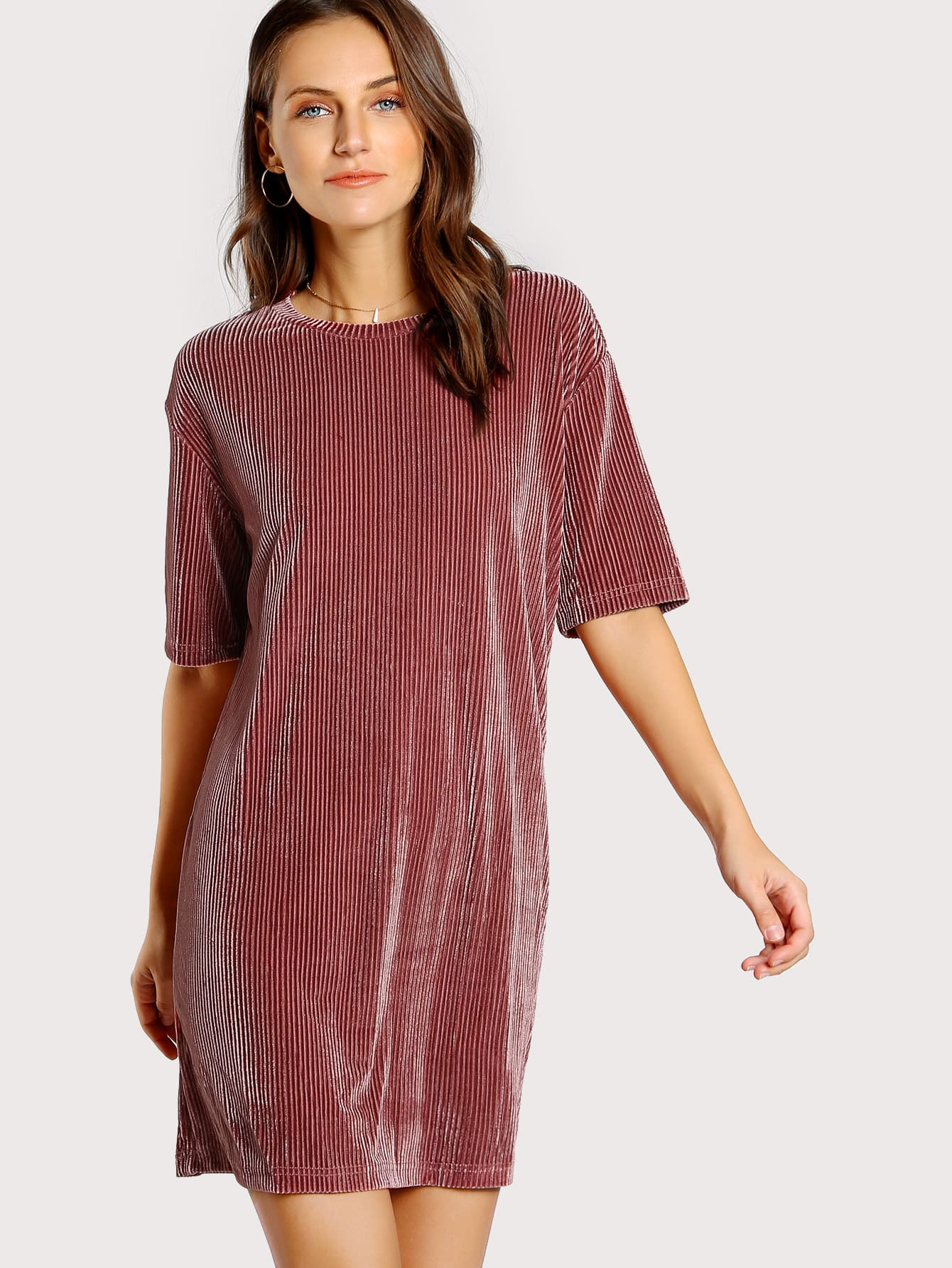 Ribbed Velvet Tee Dress dressmmc170907704