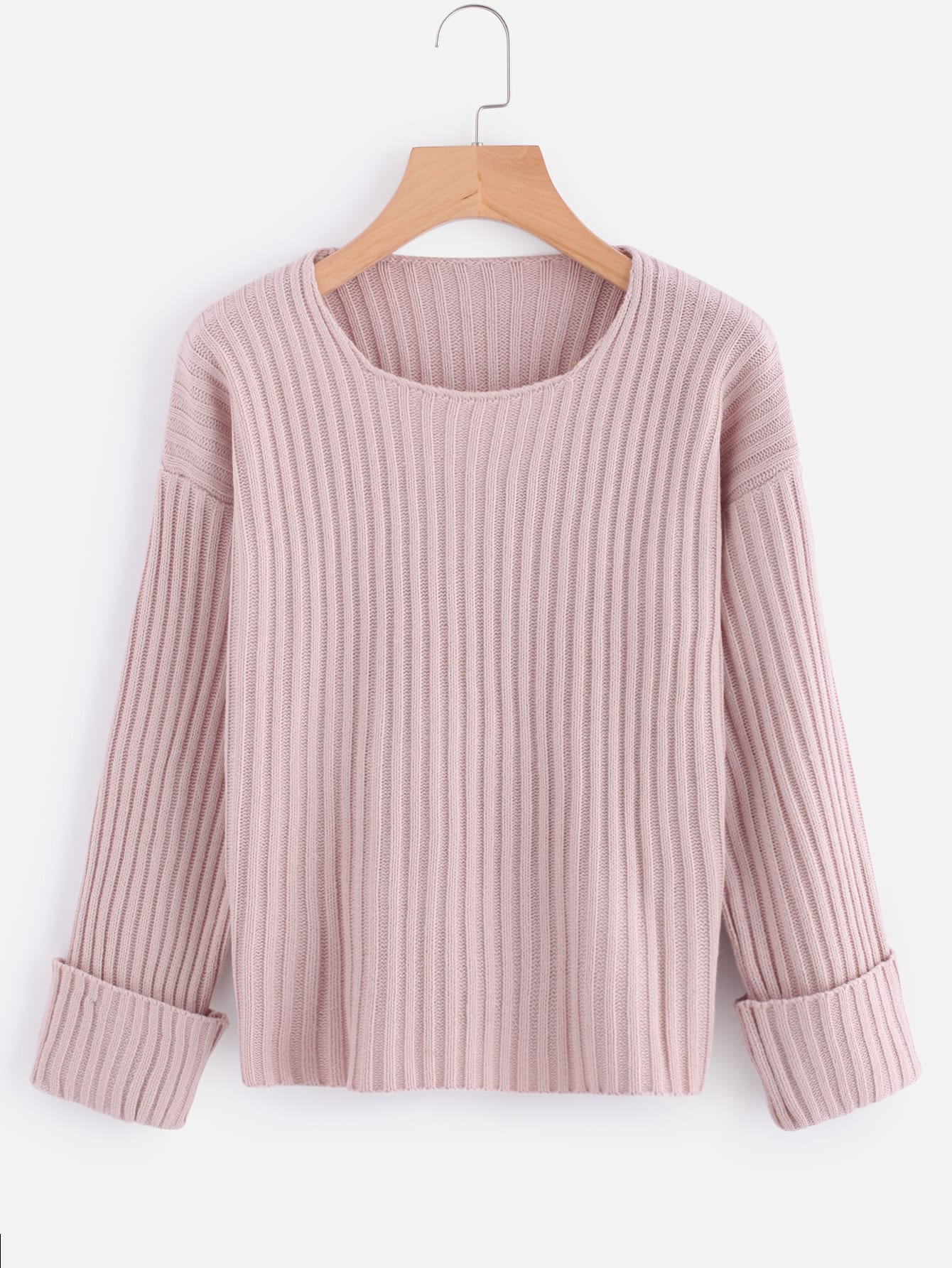 Rolled Cuff Ribbed Sweater sweater170915114