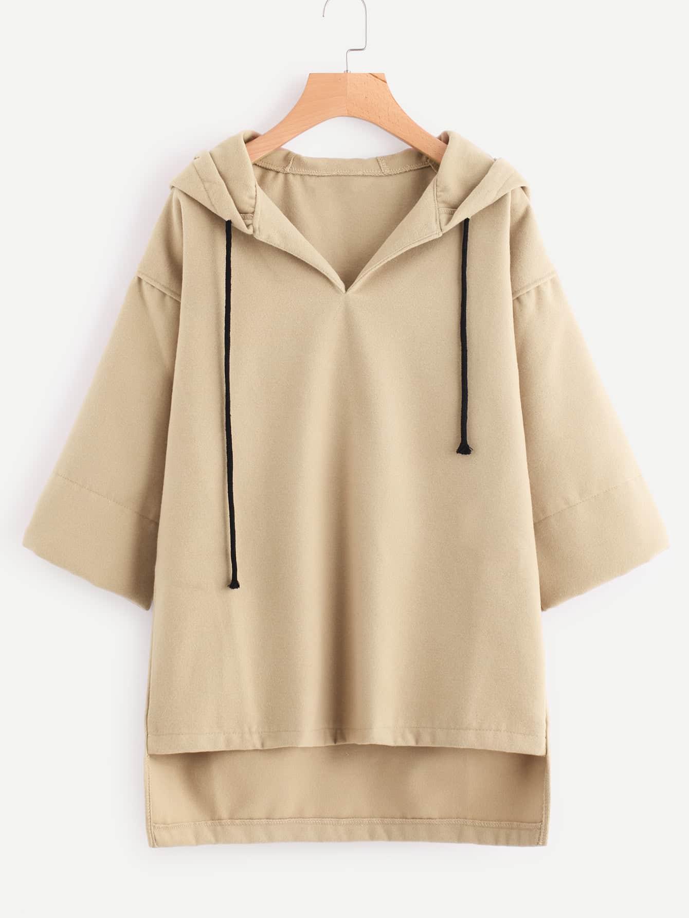 Hooded Drawstring Dip Hem Woollen Blend Sweatshirt tree print drawstring hem hooded blouse