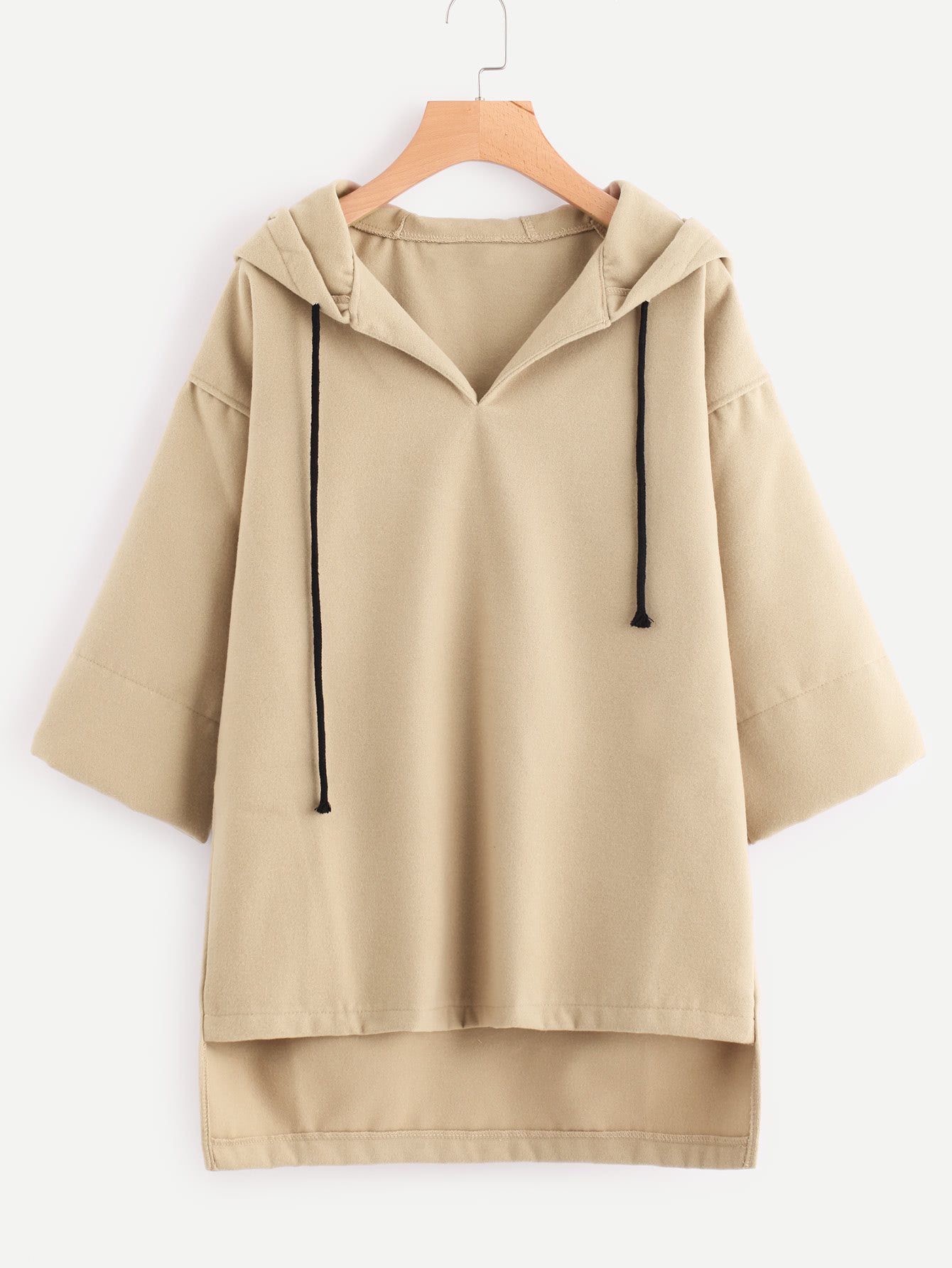 Hooded Drawstring Dip Hem Woollen Blend Sweatshirt