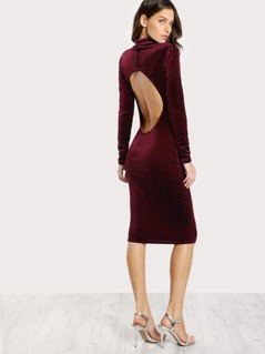 Turtleneck Velvet Dress BURGUNDY