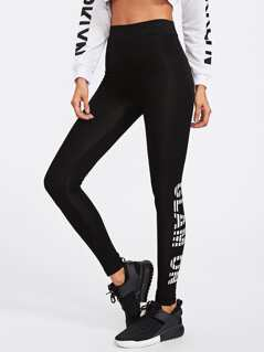 High Rise Letter Print Leggings