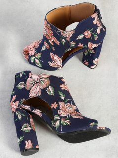 Floral Print Cut Out Peep Toe Heels NAVY PINK