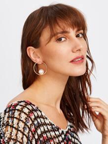 Open Ring Hoop Earrings With Faux Pearl