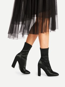 Pointed Toe Block Heeled Satin Boots