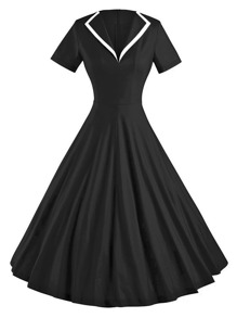 Contrast Trim Collar Circle Dress