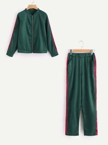 Cazadora bomber de lado panel con pantalones de cintura elástica
