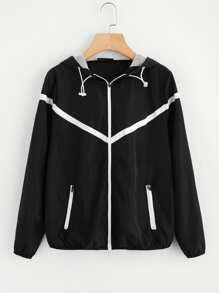 Contrast Woven Tape Applique Windbreaker Hooded Jacket