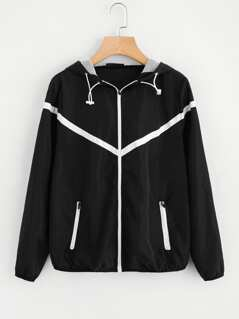Contrast Woven Tape Applique Windbreaker Hooded Jacket