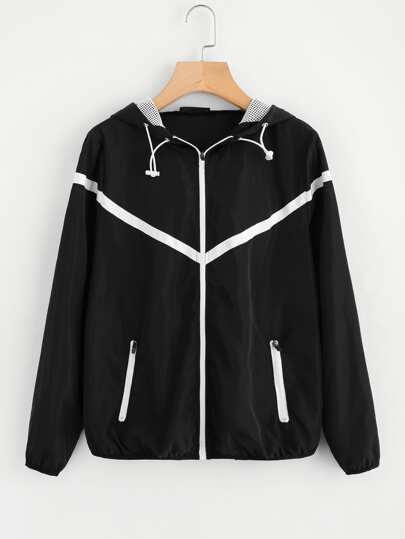 Windbreaker Kapuzenjacke mit Applikation