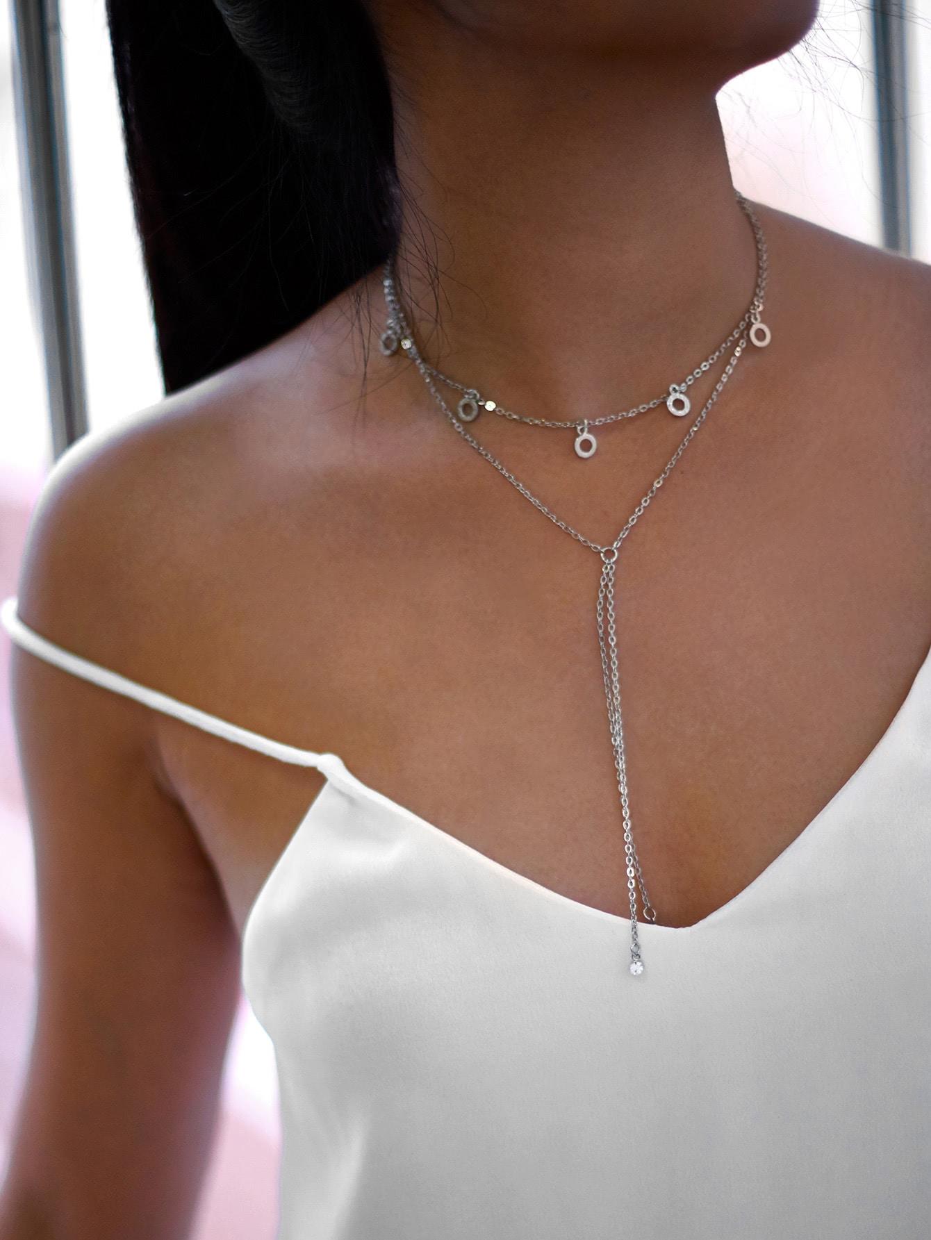 Rhinestone Detail Layered Chain Necklace