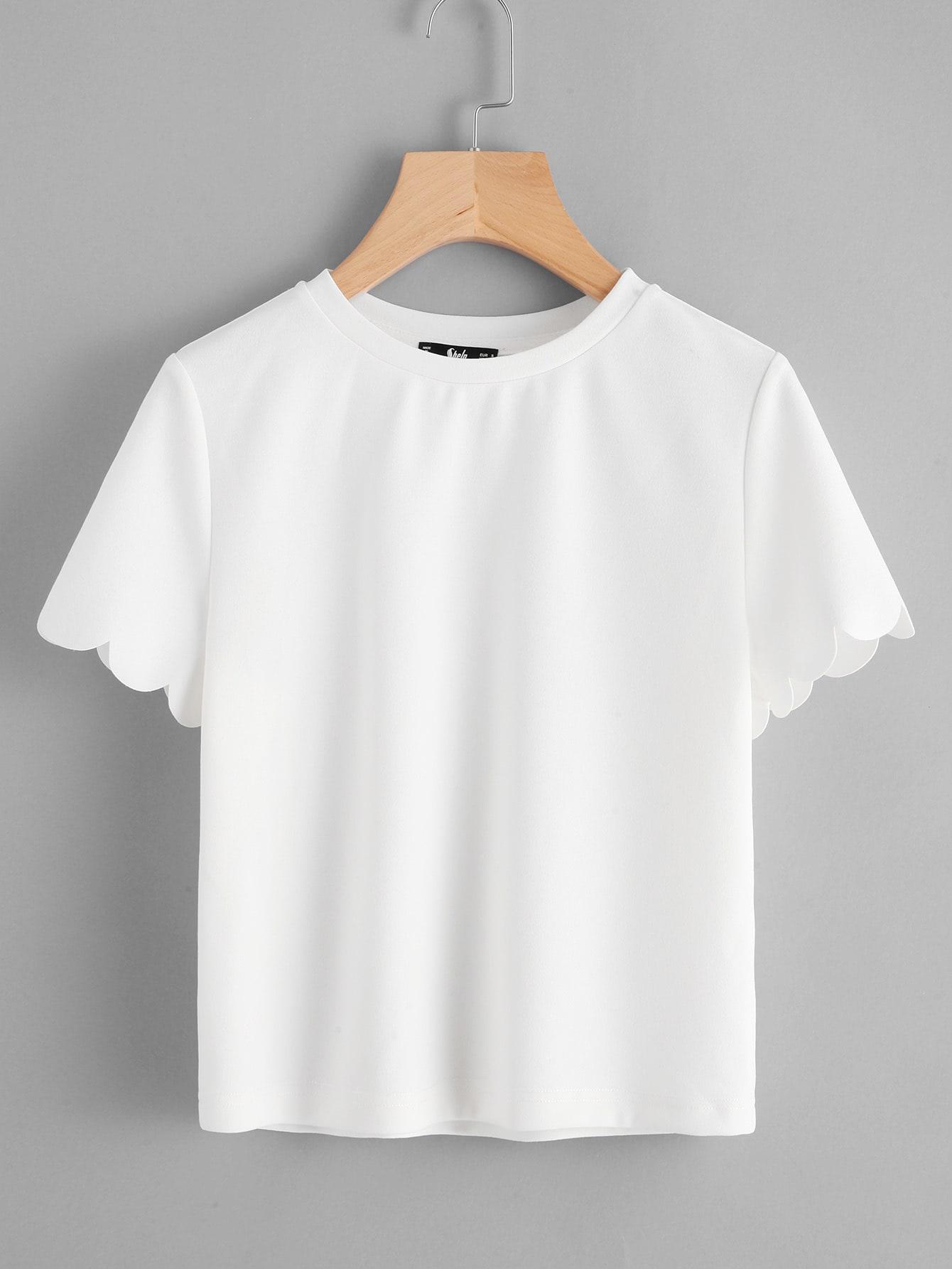 Купить Модная футболка с фестонами, null, SheIn