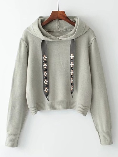 Studded Drawstring Hooded Sweater