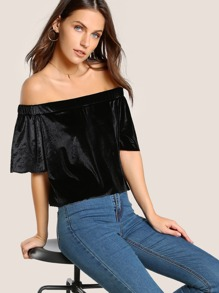 Off Shoulder Velvet Top
