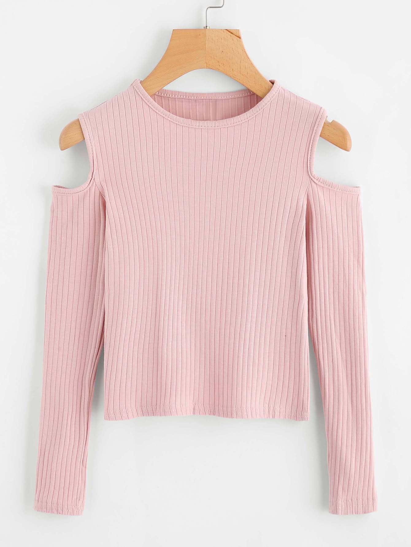 Cold Shoulder Ribbed Knit Sweater sweater170913121