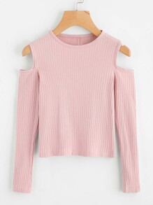 Cold Shoulder Ribbed Knit Sweater SHEIN
