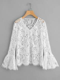 Bell Cuff Eyelash Lace Top