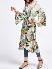 Botanical Print Self Belted Velvet Coat