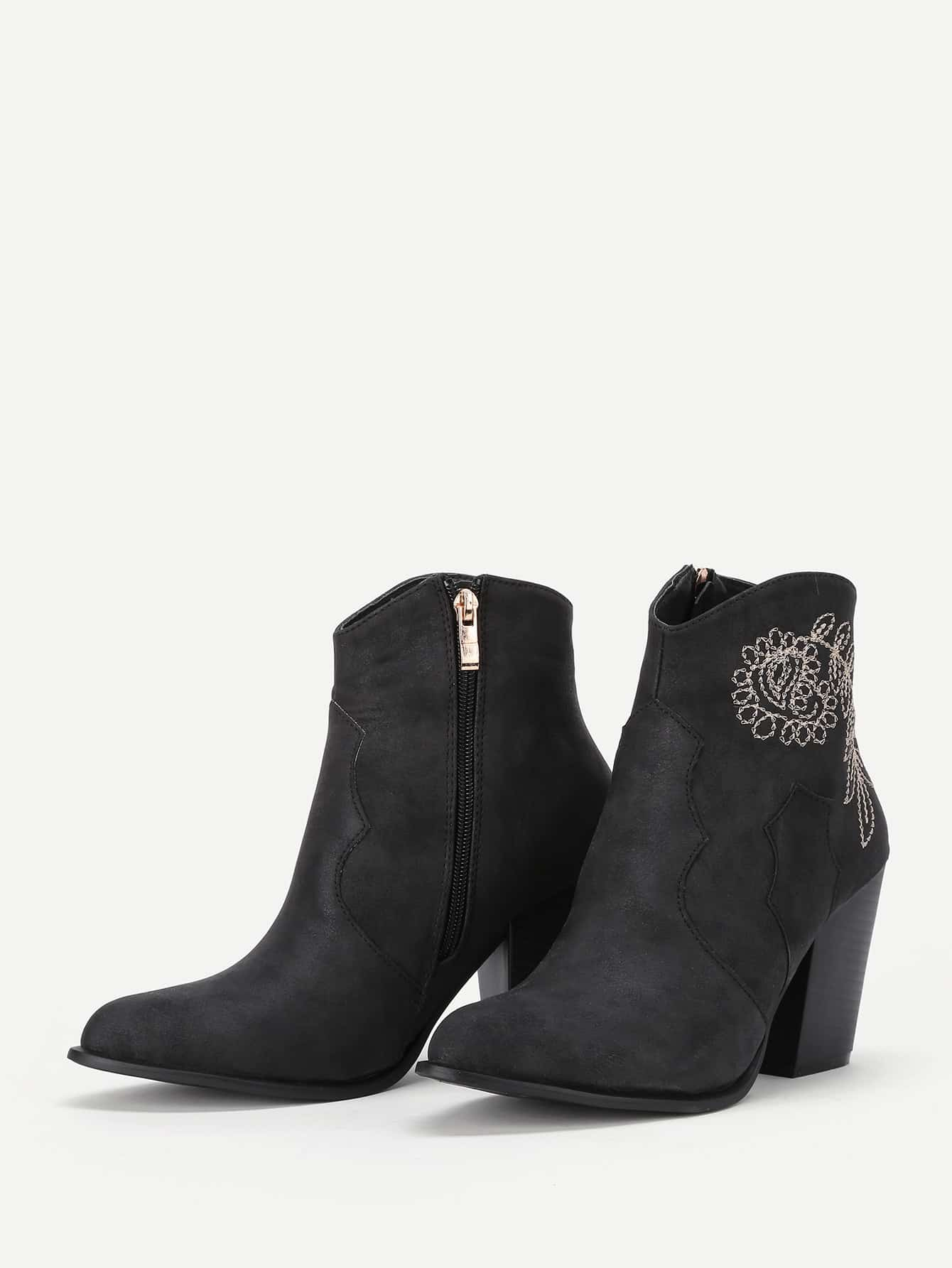 Plant Embroidered Block Heeled Ankle Boots